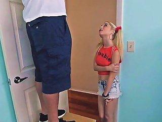 Skinny Teen Schoolgirl Jumps On A Huge Hard Dick For Bj